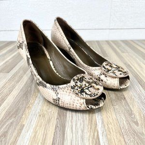 Tory Burch Snake Print Wedge Peep Toe Heels